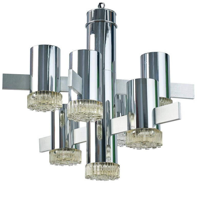 Futuristic Chrome and Glass Chandelier by Gaetano Sciolari, Italy, 1970s