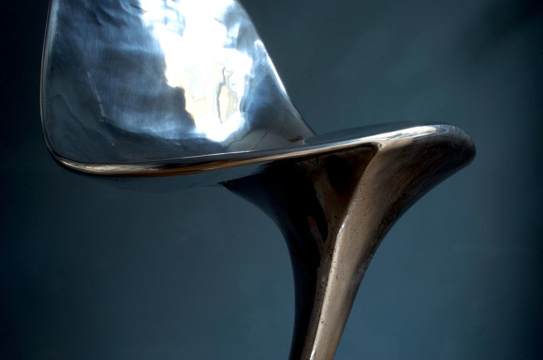 Italian Futuristic 'Jacana' Stool Handcrafted in Cast Aluminum For Sale