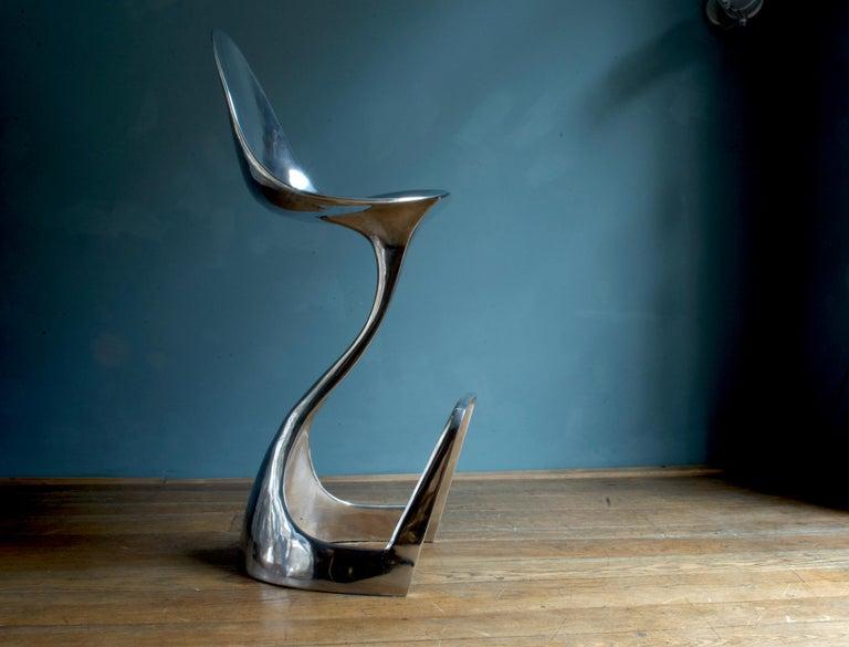 Contemporary Futuristic 'Jacana' Stool Handcrafted in Cast Aluminum For Sale