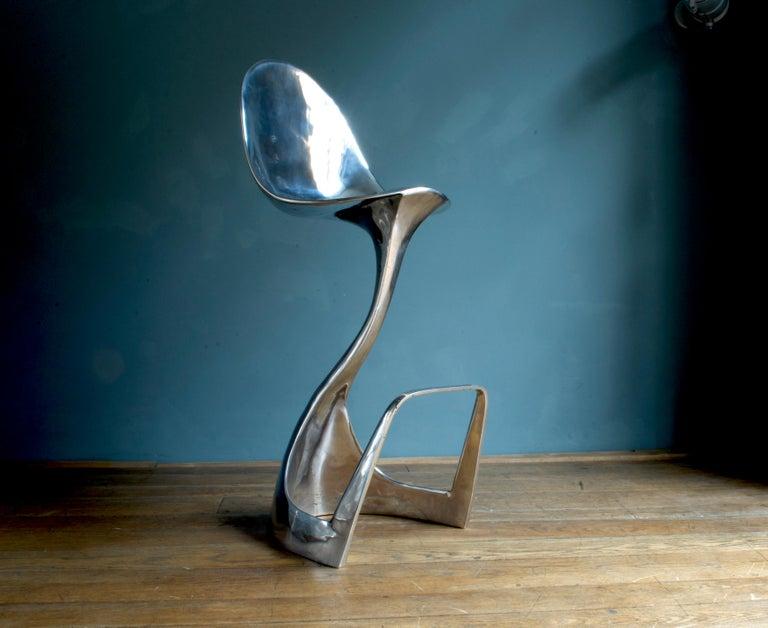 Futuristic 'Jacana' Stool Handcrafted in Cast Aluminum For Sale 1
