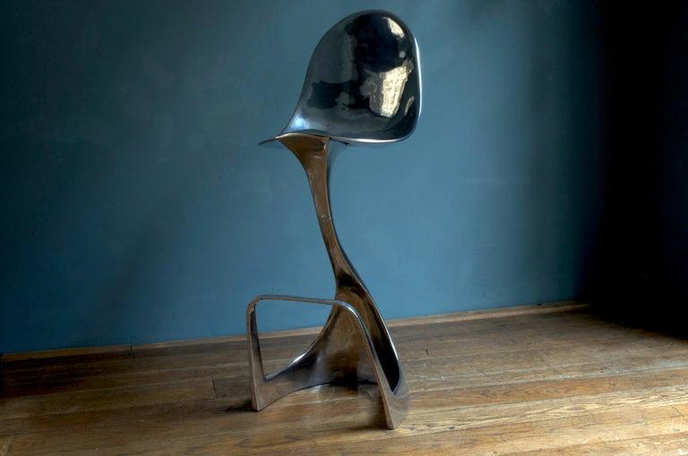 Futuristic 'Jacana' Stool Handcrafted in Cast Aluminum For Sale 2
