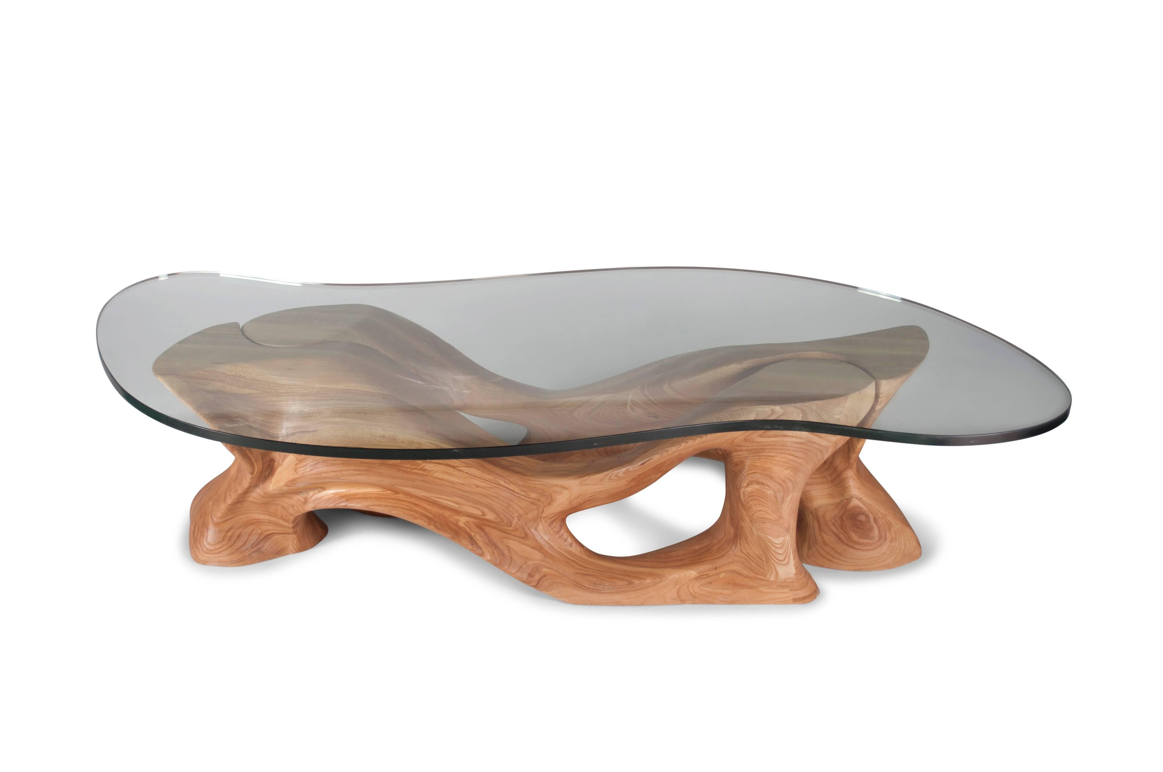 Amorph Crux Coffee Table, Solid Wood, Organic Shaped Glass