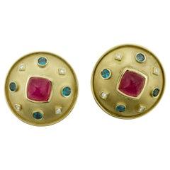 Futuristic Space Age Tourmaline and Diamond Earrings