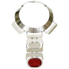 Futuristic Space Age Vintage Cabochon Plastron Necklace
