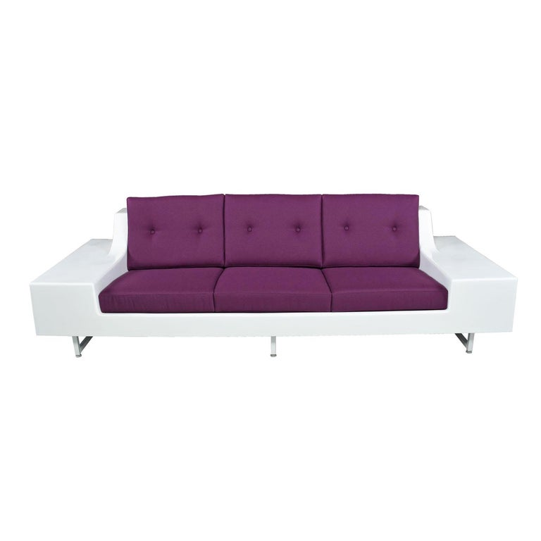 American Restored Vintage Fiber Foam Sofa by Homecrest in New Plum Knoll Fabric For Sale