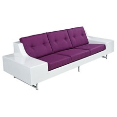 Futuristic Vintage Modern Indoor Outdoor White Fiberglass Sofa in Knoll Fabric