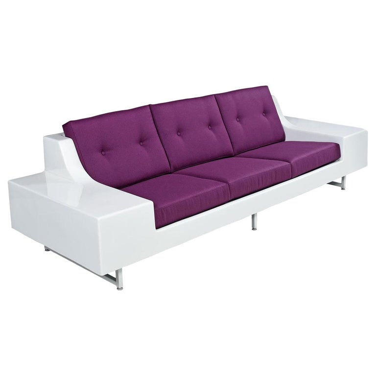 Mid-Century Modern Restored Vintage Fiber Foam Sofa by Homecrest in New Plum Knoll Fabric For Sale