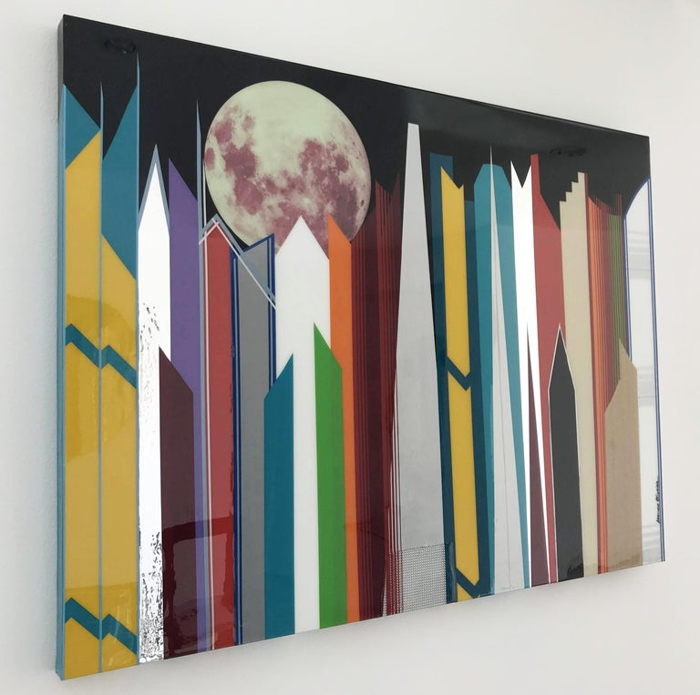 Futuristica with glow in the dark moon by Mauro Oliveira signed. Vinyl tapes, acrylic paint covered with resin on wood frame. A certificate of authenticity issued by the artist is included. Measures: Width 48 inches, height 36 inches, depth 1.75
