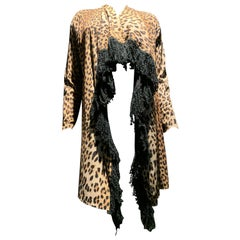Fuzzi by Jean Paul Gaultier Leopard Stretch Jersey Duster W/ Black Yarn Fringe