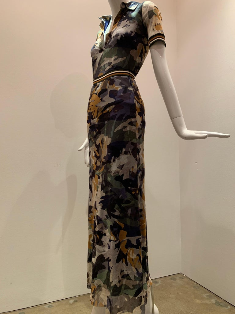 Fuzzi by Jean Paul Gaultier 2-piece stretch tulle blouse and skirt ensemble in camouflage:   Blouse is a classic