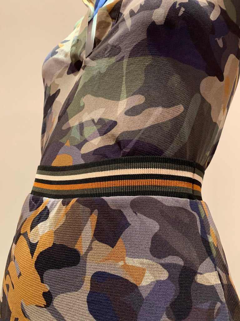 Fuzzi By Jean Paul Gaultier Stretch Tulle 2-Piece Blouse & Skirt In Camouflage  For Sale 3