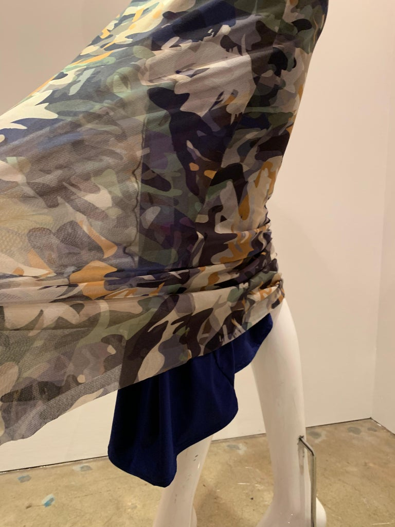 Fuzzi By Jean Paul Gaultier Stretch Tulle 2-Piece Blouse & Skirt In Camouflage  For Sale 4