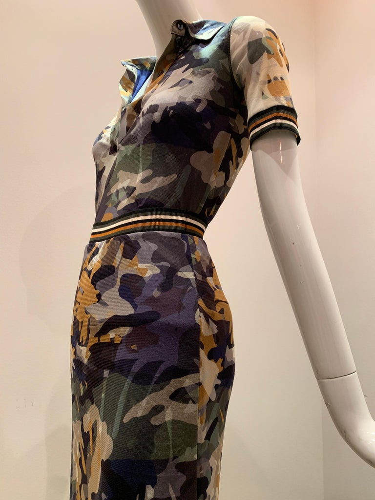 Fuzzi By Jean Paul Gaultier Stretch Tulle 2-Piece Blouse & Skirt In Camouflage  For Sale 5