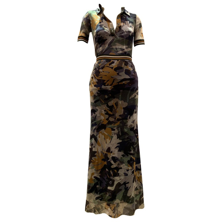 Fuzzi By Jean Paul Gaultier Stretch Tulle 2-Piece Blouse & Skirt In Camouflage  For Sale