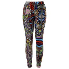 FUZZI Jean-Paul Gaultier c.2000's Multicolor Mixed Pattern Mesh Legging Pants