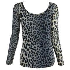 Fuzzi Jean Paul Gaultier Leopard Print Long Sleeve Mesh Top