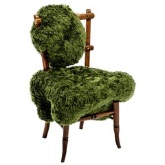 'Fuzzy Hi!breed Chair' with biomorphic upholstery sculpted on victorian chair