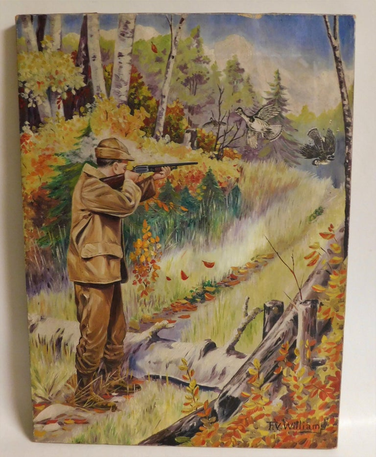 A fine and original oil on canvas painting by Canadian F.V. Williams, a noted and accomplished writer, illustrator and artist. This painting was presented to Mr. J Mercer with the compliments of the publisher of Bodtrun (?) Canada W.J. Taylor Nov. 6