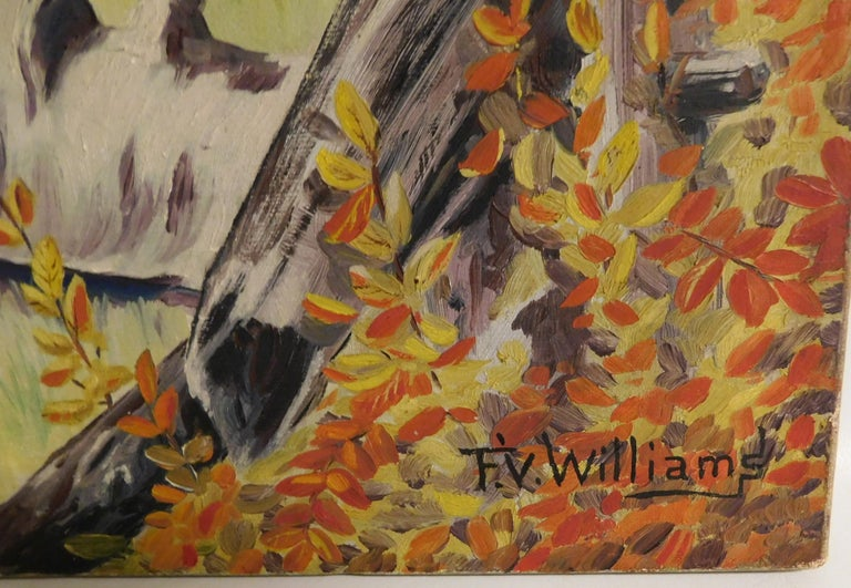 20th Century F.V. Williams Oil on Canvas Pheasant Hunting Painting For Sale