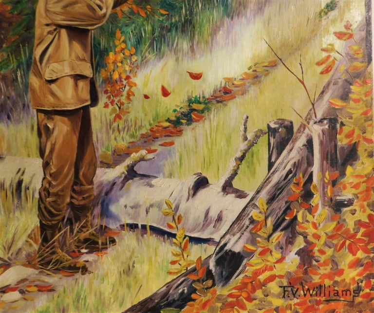 F.V. Williams Oil on Canvas Pheasant Hunting Painting For Sale 3