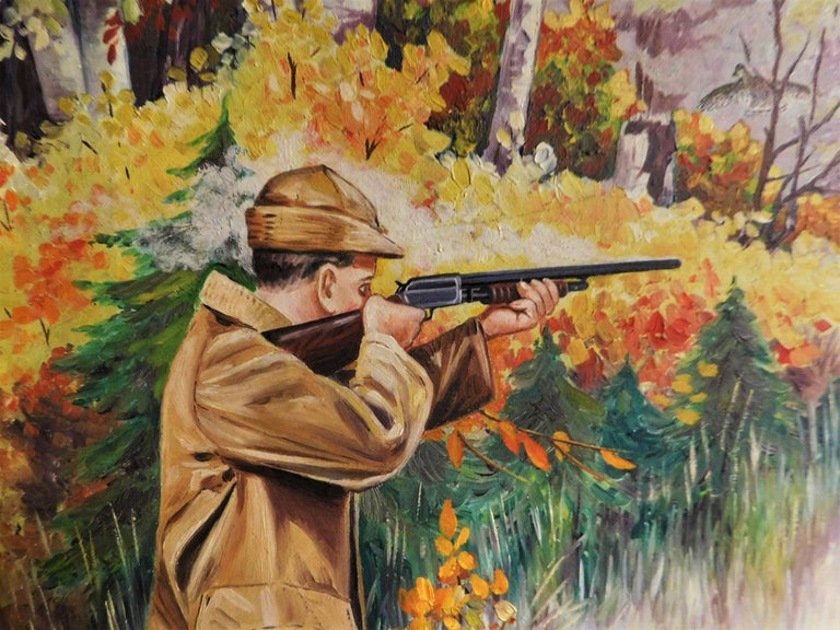F.V. Williams Oil on Canvas Pheasant Hunting Painting For Sale 4