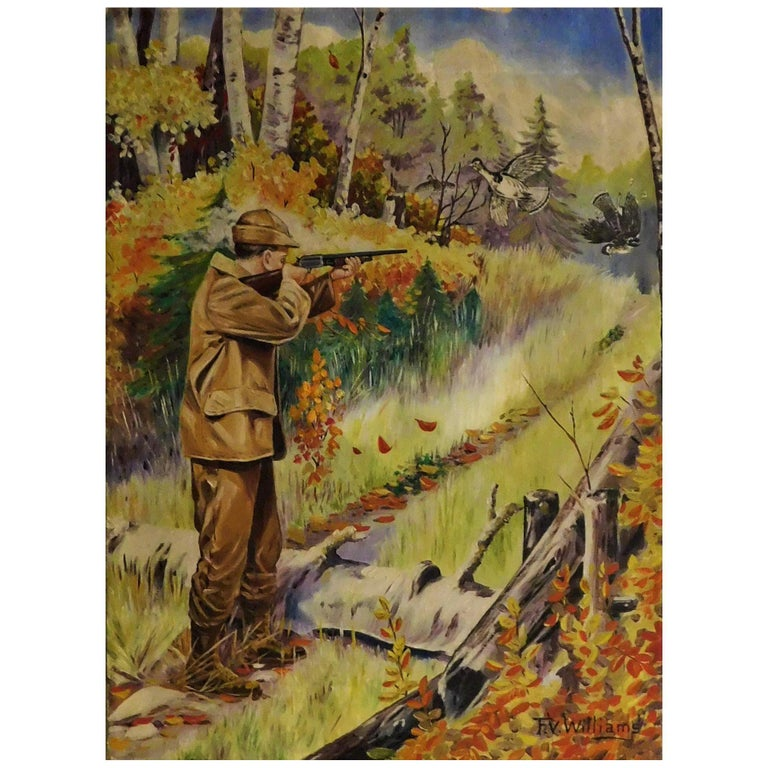 F.V. Williams Oil on Canvas Pheasant Hunting Painting For Sale