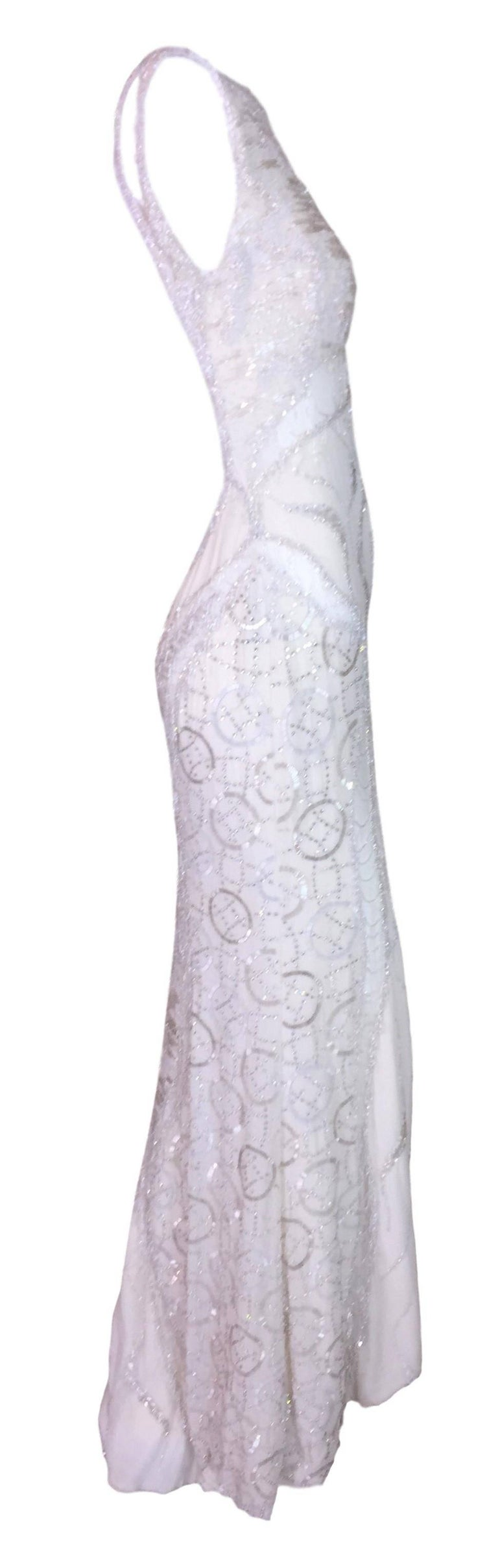Atelier Versace Runway Sheer Ivory Bridal Wedding Beaded Gown Dress, F / W 1998  In Good Condition For Sale In Yukon, OK