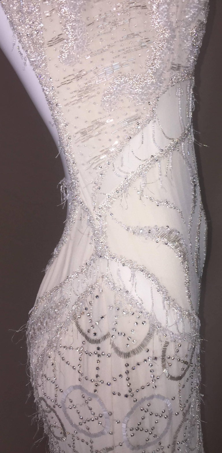 Women's Atelier Versace Runway Sheer Ivory Bridal Wedding Beaded Gown Dress, F / W 1998  For Sale