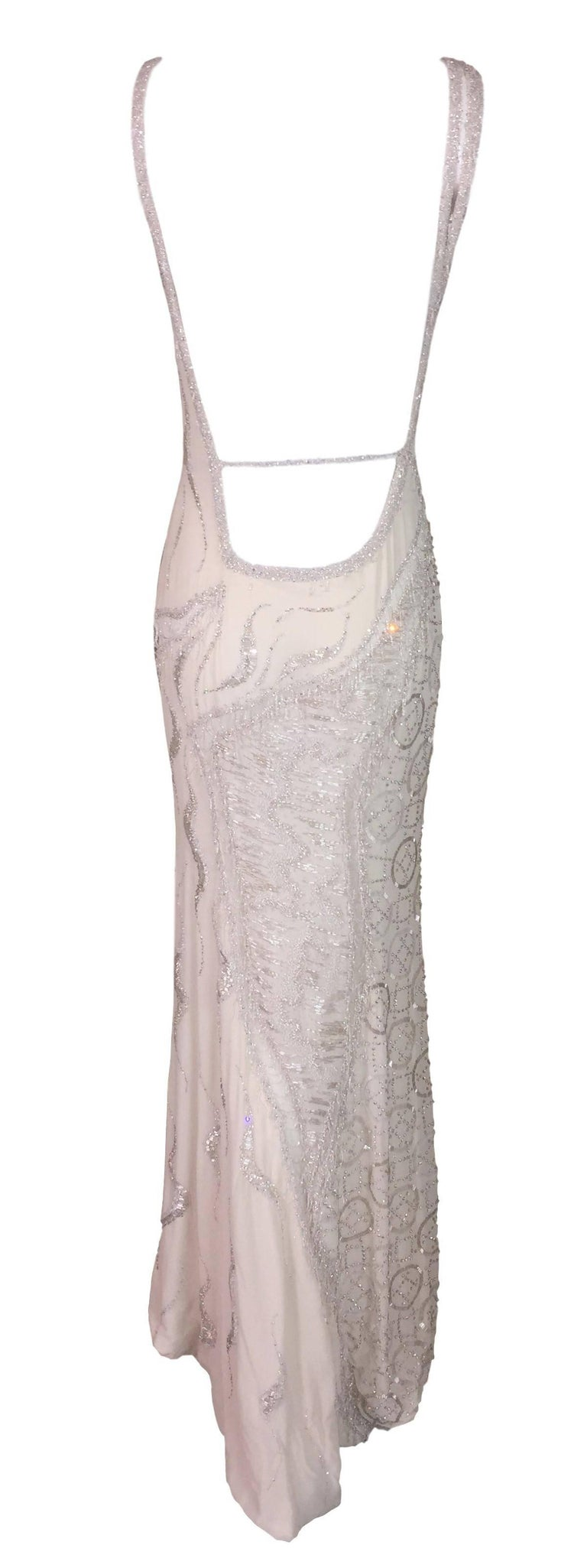 Atelier Versace Runway Sheer Ivory Bridal Wedding Beaded Gown Dress, F / W 1998  For Sale 1