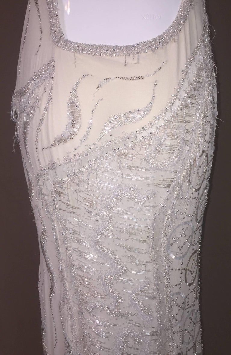 Atelier Versace Runway Sheer Ivory Bridal Wedding Beaded Gown Dress, F / W 1998  For Sale 4