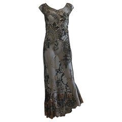 FW 1998 Gianfranco Ferre Metallic Embroidered Tulle Evening Gown