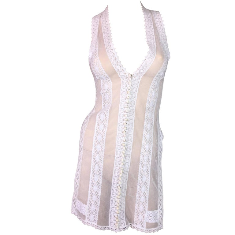 F/W 2003 Gianfranco Ferre Sheer White Fishnet Lace Vest Top