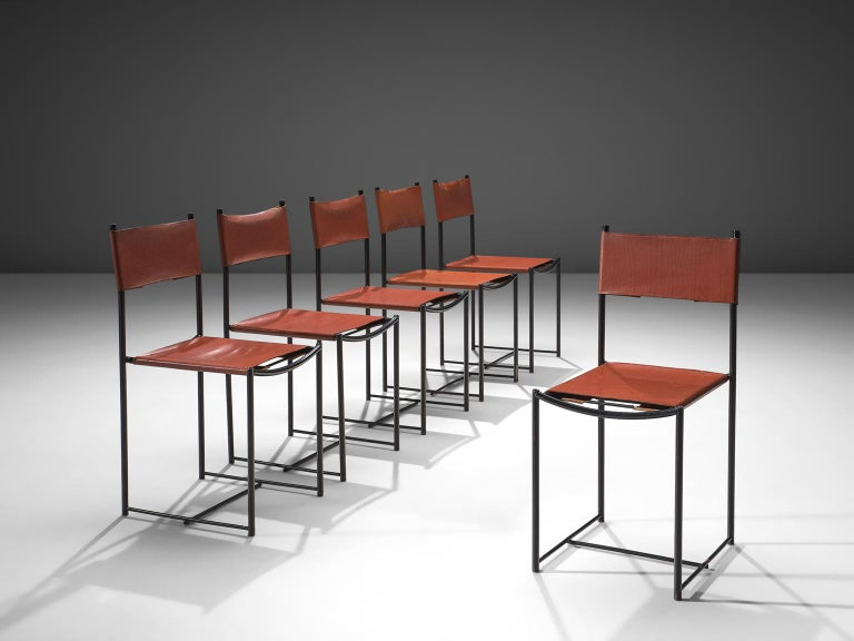 G. Belotti for Alias, set of six 101 Spaghetti chairs, leather, metal and rubber, Italy, 1980.  The Italian Postmodern 101 Spaghetti chairs are designed by Giandomenico Belotti for manufacturer Alias. They consist of enameled steel legs and