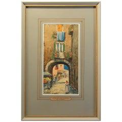 G. Cano 'Italian 19th-20th Century' Street Scene in Naples Watercolor