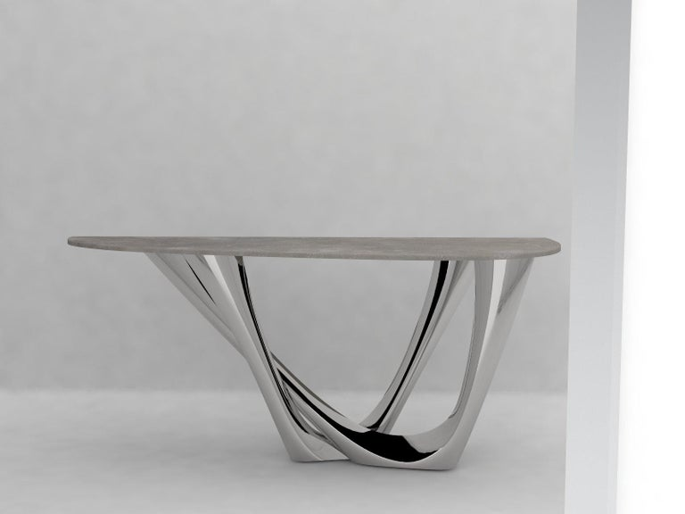 Polish G-Console Duo Table in Brushed Stainless Steel by Zieta For Sale