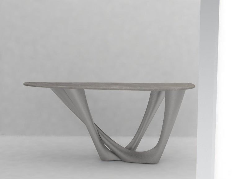 G-Console Duo Table in Brushed Stainless Steel by Zieta In Excellent Condition For Sale In New York, NY