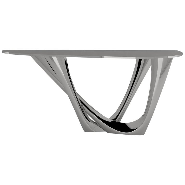 G-Console Duo Table in Brushed Stainless Steel by Zieta For Sale