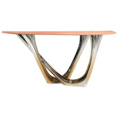 G-Console Duo Table in Gold Flamed Stainless Steel Leather Top by Zieta