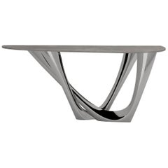 G-Console Duo Table in Polished Stainless Steel with Concrete Top by Zieta