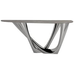 G-Console Duo Table in Polished Stainless Steel with Concrete Top, Zieta