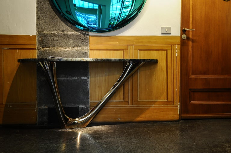 Organic Modern G-Console Mono by Zieta, Stainless Steel Flamed Gold Base and Green Stone Top For Sale