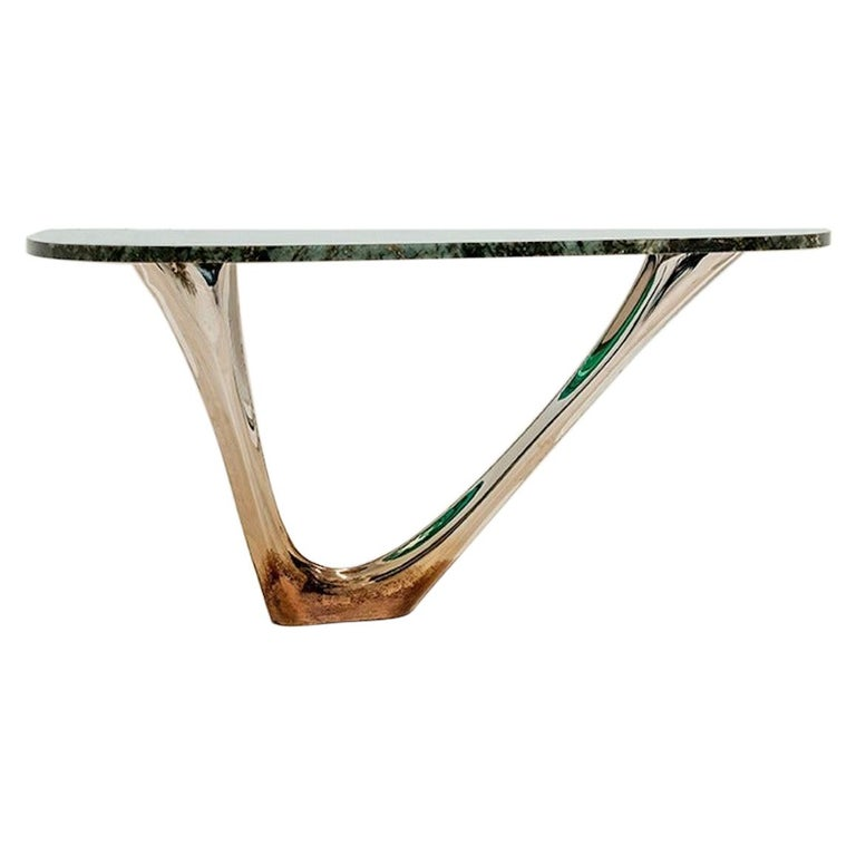 G-Console Mono by Zieta, Stainless Steel Flamed Gold Base and Green Stone Top For Sale