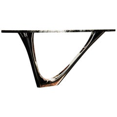 G-Console Mono Stone Top Gold Flamed stainless steel Table by Zieta