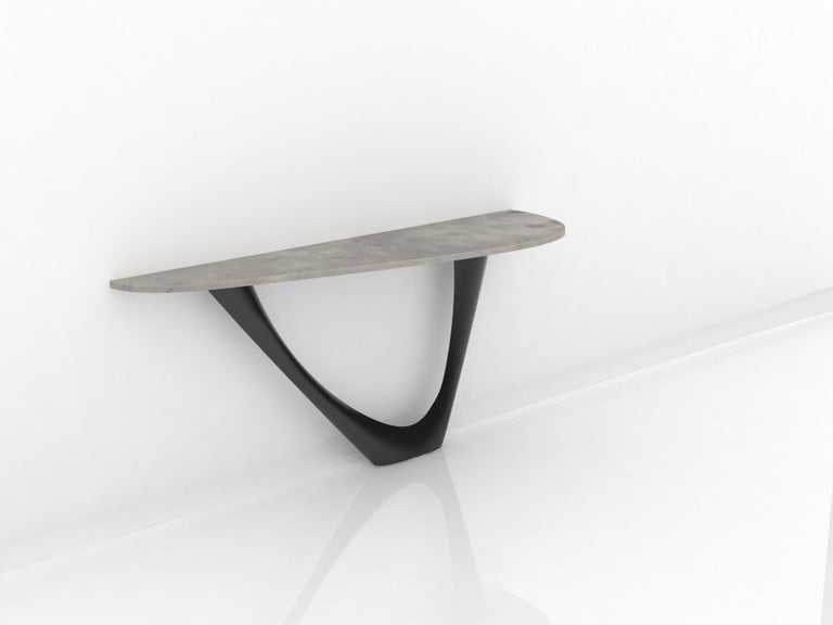 Modern G-Console Mono Table in Powder-Coated Steel with Concrete Top by Zieta For Sale