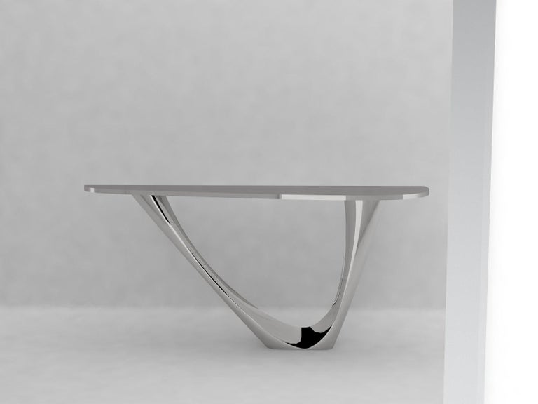 Polish G-Console Mono Table in Powder-Coated Steel with Concrete Top by Zieta For Sale