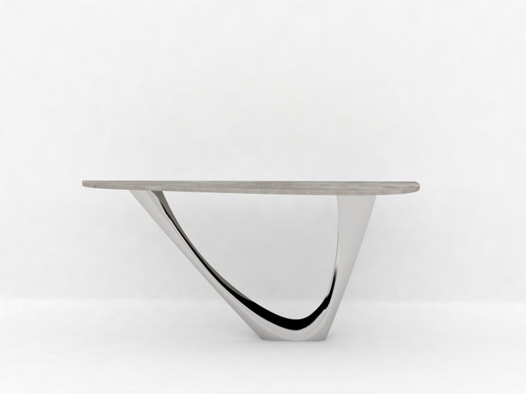 Contemporary G-Console Mono Table in Powder-Coated Steel with Concrete Top by Zieta For Sale