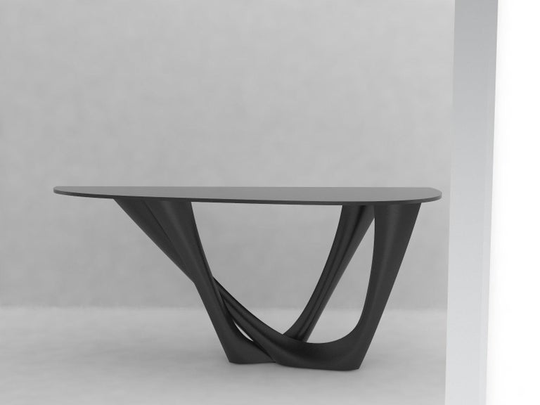 Modern G-Console Table Duo in Powder-Coated Steel with Concrete Top by Zieta For Sale
