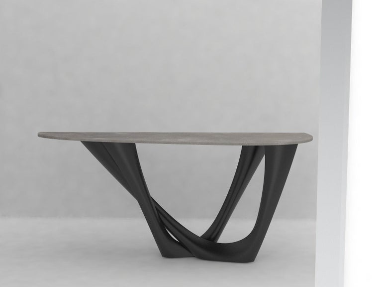 Contemporary G-Console Table Duo in Powder-Coated Steel with Concrete Top by Zieta For Sale