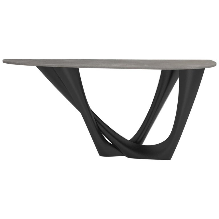G-Console Table Duo in Powder-Coated Steel with Concrete Top by Zieta For Sale