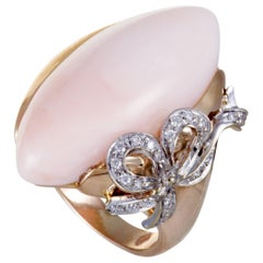 G. Fiorini 18 Karat Rose and White Gold Diamond and Pink Agate Cocktail Ring